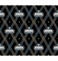 Seamless pattern with white king crowns on a dark vector