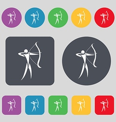Archery icon sign a set of 12 colored buttons flat vector