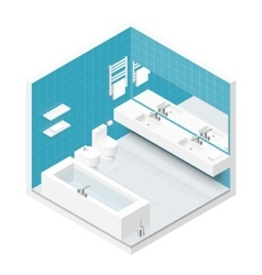 Bathroom with toilet isometric icon set vector image