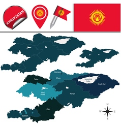 Kyrgyzstan map with named divisions vector