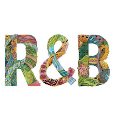 Abbreviation r and b decorative zentangle vector