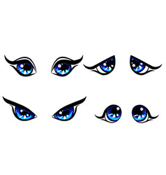 big blu girl character eyes emotion on face vector image