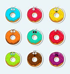 Cartoon donut cute character face icons vector