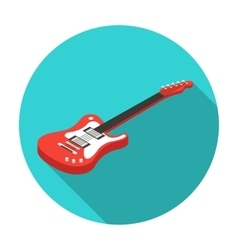 Electric guitar icon in flat style isolated on vector