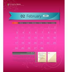 February 2013 Calendar vector image