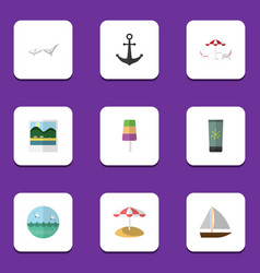 Flat icon beach set of ocean parasol sundae and vector