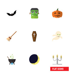 Flat icon festival set of superstition monster vector