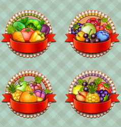 Fruits and vegetables labels set vector image vector image