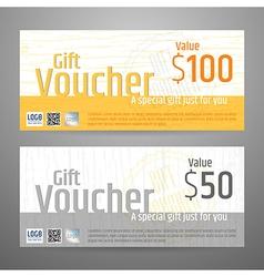 Gift voucher yellow gray wood texture vector
