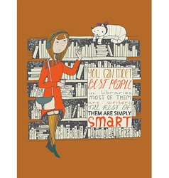 Girl and cat meeting in a library hand drawn made vector