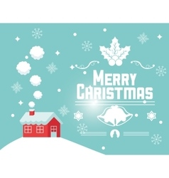 House and snowflakes of christmas design vector