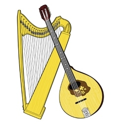 Irish national musical instruments celtic harp vector