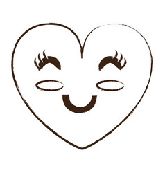 kawaii heart icon vector image