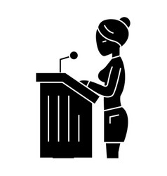 lawyer woman - speech in court icon vector image vector image