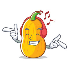 Listening music butternut squash mascot cartoon vector