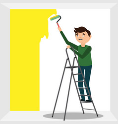 man oloring wall by paint roller vector image vector image