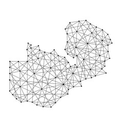 Map of zambia from polygonal black lines and dots vector