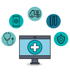 Medical monitor application healthcare technology vector