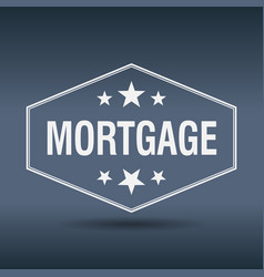 Mortgage hexagonal white vintage retro style label vector