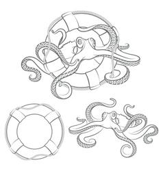 Octopus in a life buoy vector