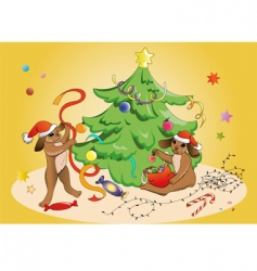 rabbits and Christmas vector image vector image