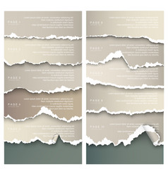 set of elements torn paper with place for text vector image