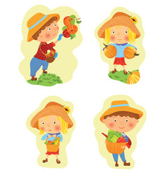 set of funny cartoon boy and girl harvesting vector image