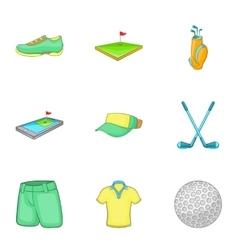 Sport golf icons set cartoon style vector
