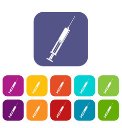 Syringe with liquid icons set flat vector