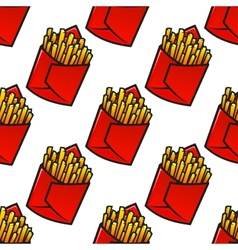 Tasty french fries packs seamless pattern vector