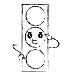 Traffic light kawaii character vector