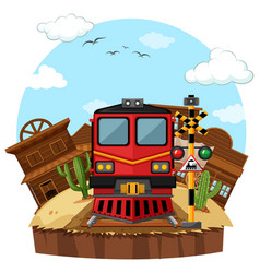Train ride to the western town vector