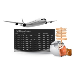 Travel background with mechanical departures board vector image vector image