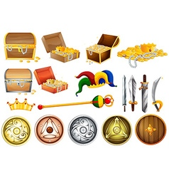 Treassure chest and weapons vector