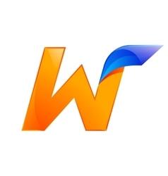 W letter blue and Orange logo design Fast speed vector image vector image