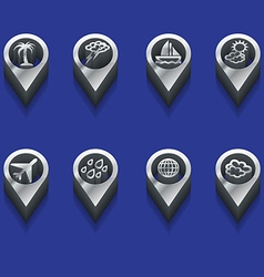 weather and travel symbols in 3d vector image vector image
