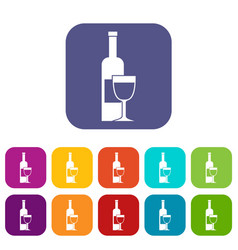 Wine bottle and glass icons set flat vector