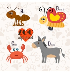 Zoo alphabet with funny animals a b c d letters vector