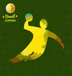 Brazil summer sport card with an yellow abstract v vector