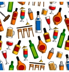 Bar cocktails and alcohol drinks seamless pattern vector