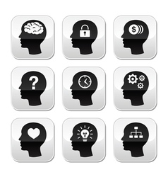 Head brain buttons set vector