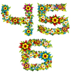 Flower and bush letters 12 vector