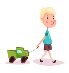 Boy or child kid or guy with toy truck or lorry vector