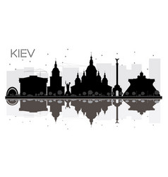 kiev city skyline black and white silhouette with vector image