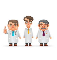 Doctors team experienced fat thin tall mustache vector
