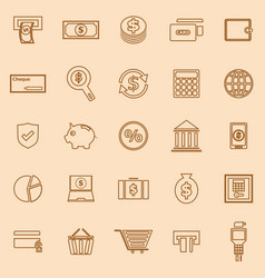 Payment line color icons on brown background vector