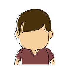 Caricature faceless front view half body boy with vector