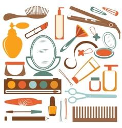 Colorful stylish set of make up elements vector image