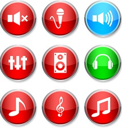 Audio round icons vector