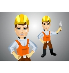 Handsome young plasterer with trowel vector